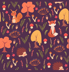 cute animals in forest pattern vector image