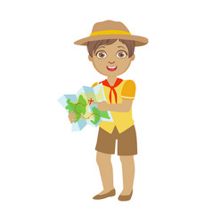 Cute boy scout holding a tourist map a colorful vector