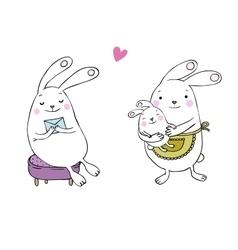 Cute cartoon bunnies vector