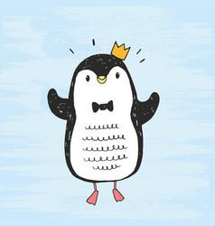 Cute hand drawn penguin vector