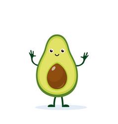 Cute happy avocado vector