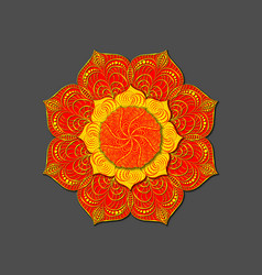 Decorative colored mandala radial volumetric vector