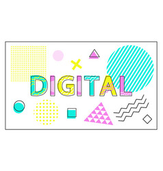 digital banner with geometrical figures and lines vector image