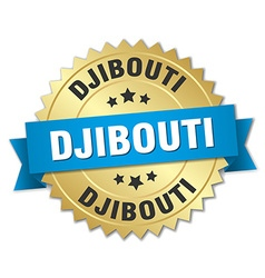 Djibouti round golden badge with blue ribbon vector