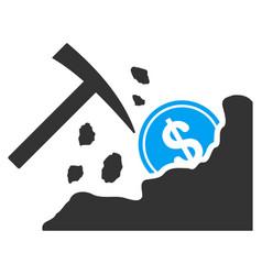 Dollar mining hammer flat icon vector