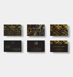 Elegant black luxury business cards set with vector