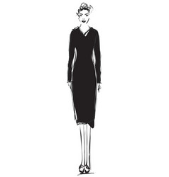 fashion models sketch cartoon girl black dress vector image
