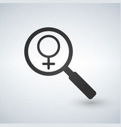 female gender sign under a magnifiyng glass vector image