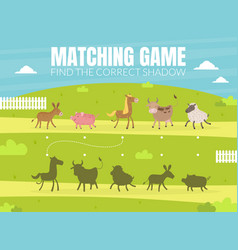 find correct shadow educational matching game vector image