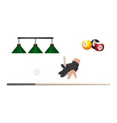 Flat cartoon billiard objects set vector