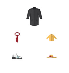 flat icon clothes set of sneakers uniform cravat vector image