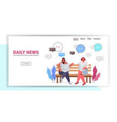 Girls reading newspaper discussing daily news vector