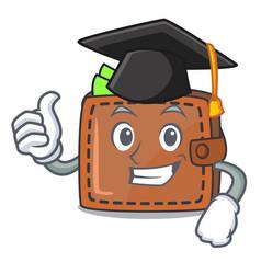 Graduation wallet character cartoon style vector