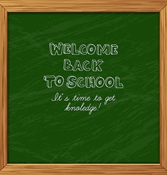 Green blackboard greeting card welcome back to vector