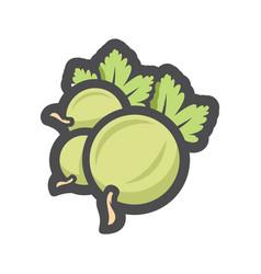 Green gooseberry berry icon cartoon vector
