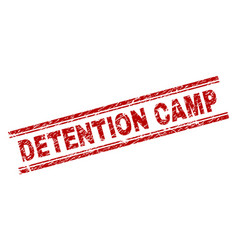 grunge textured detention camp stamp seal vector image