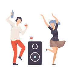 Guy and girl dancing with drinks and a musical vector