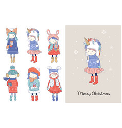 hand drawn beautiful cute little winter girls vector image
