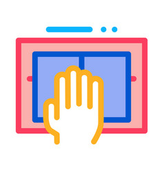 hand scanning icon outline vector image