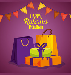 Hindu event with party banner and presents gifts vector