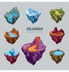 Isometric 3d set flying islands vector