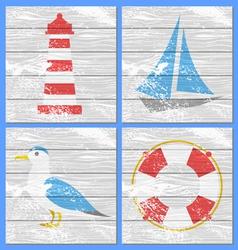 lighthouse yacht seagulls and lifebuoy vector image