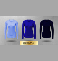 long sleeve blank shirt blue shirt mockup vector image