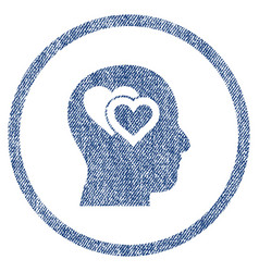 Love in mind rounded fabric textured icon vector