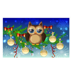 lovely cartoon owl tangled in a garland of vector image