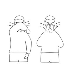 man coughs at elbow and napkin vector image