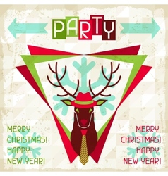 Merry Christmas background with deer in hipster vector