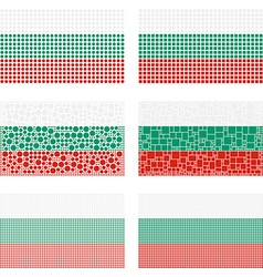 Mosaic Bulgaria flag set vector