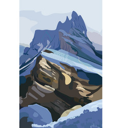mountains background nature detailed vector image