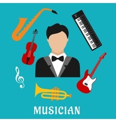 Musician and instruments flat icons vector
