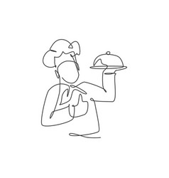 One continuous line drawing man chef character vector