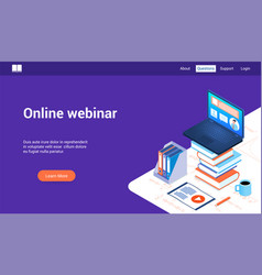 online webinar 3d lp template vector image