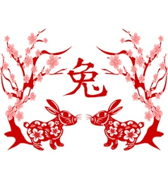 Papercut of Rabbit Lunar year vector image