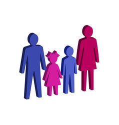Parent with children family symbol flat isometric vector
