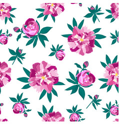 peonies seamless pattern for printing on fabric vector image