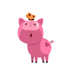 Pink funny curious pig with a butterfly on its vector