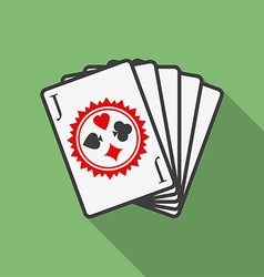 Playing cards icon Modern Flat style with a long vector image