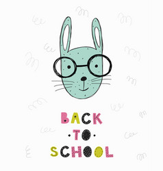poster with hand drawn funny bunny vector image