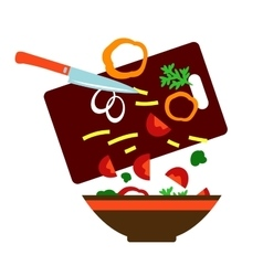 Preparing a fresh vegetable salad vector image