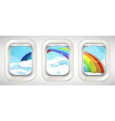 rainbow outside the window vector image