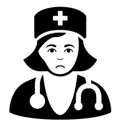 Sad physician lady black icon vector