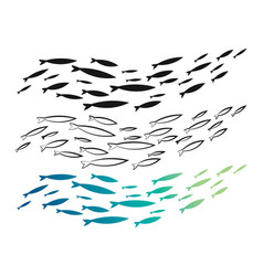 Set colored flock fish a collection vector