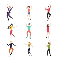 set dancing people in flat style vector image