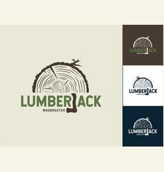 set lumber wood emblem with axe lumberjack vector image