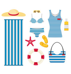 set sea and beach flat icons collection of vector image