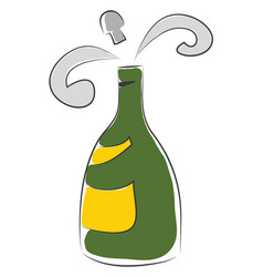 simple of a green champagne flask with yellow vector image